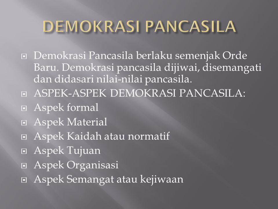  Demokrasi Pancasila berlaku semenjak Orde Baru. Demokrasi pancasila dijiwai, disemangati dan didasari nilai-nilai pancasila.  ASPEK-ASPEK DEMOKRASI