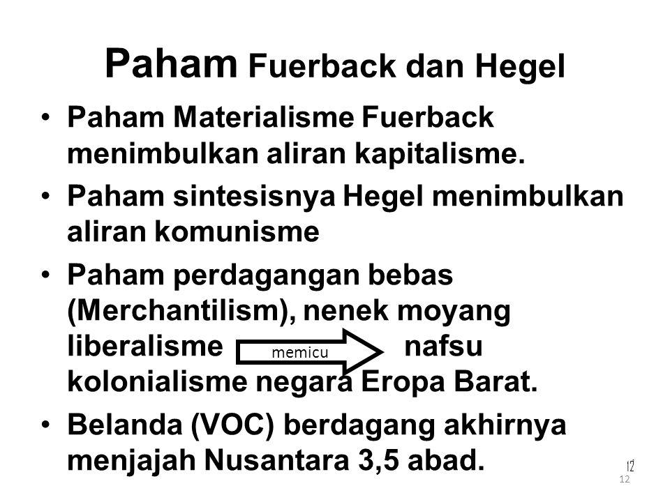12 Paham Fuerback dan Hegel Paham Materialisme Fuerback menimbulkan aliran kapitalisme. Paham sintesisnya Hegel menimbulkan aliran komunisme Paham per