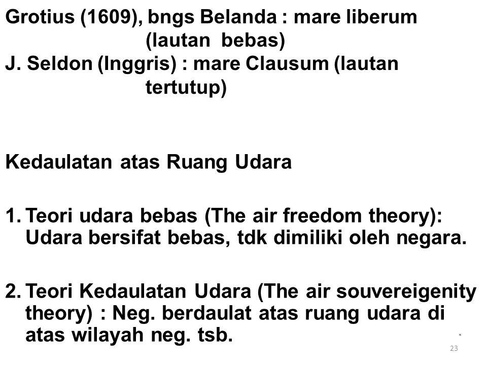 23 Grotius (1609), bngs Belanda : mare liberum (lautan bebas) J. Seldon (Inggris) : mare Clausum (lautan tertutup) Kedaulatan atas Ruang Udara 1.Teori