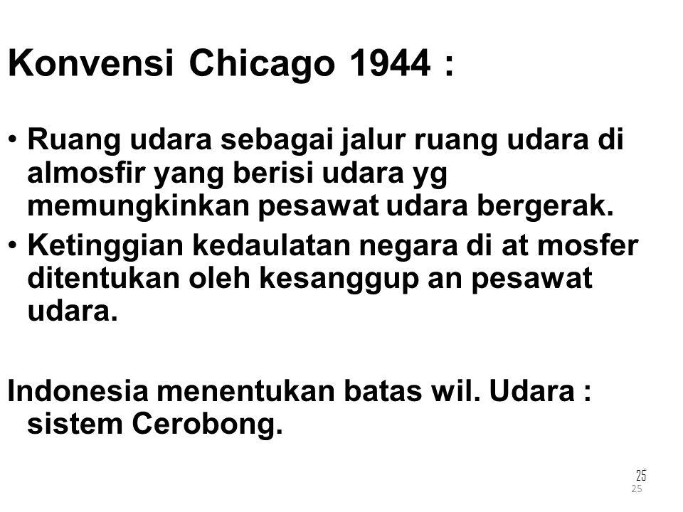 25 Konvensi Chicago 1944 : Ruang udara sebagai jalur ruang udara di almosfir yang berisi udara yg memungkinkan pesawat udara bergerak. Ketinggian keda