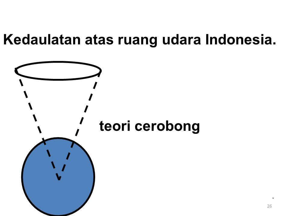 26 Kedaulatan atas ruang udara Indonesia. teori cerobong