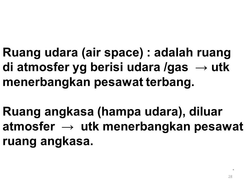 28 Ruang udara (air space) : adalah ruang di atmosfer yg berisi udara /gas → utk menerbangkan pesawat terbang. Ruang angkasa (hampa udara), diluar atm