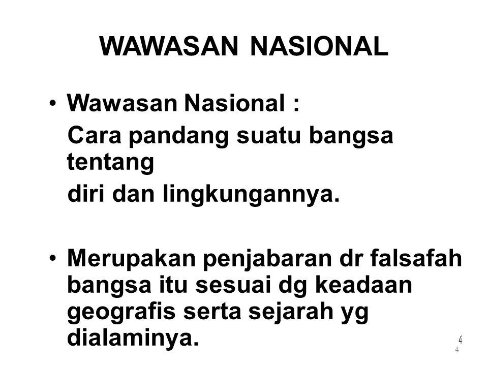 4 4 44 WAWASAN NASIONAL Wawasan Nasional : Cara pandang suatu bangsa tentang diri dan lingkungannya. Merupakan penjabaran dr falsafah bangsa itu sesua