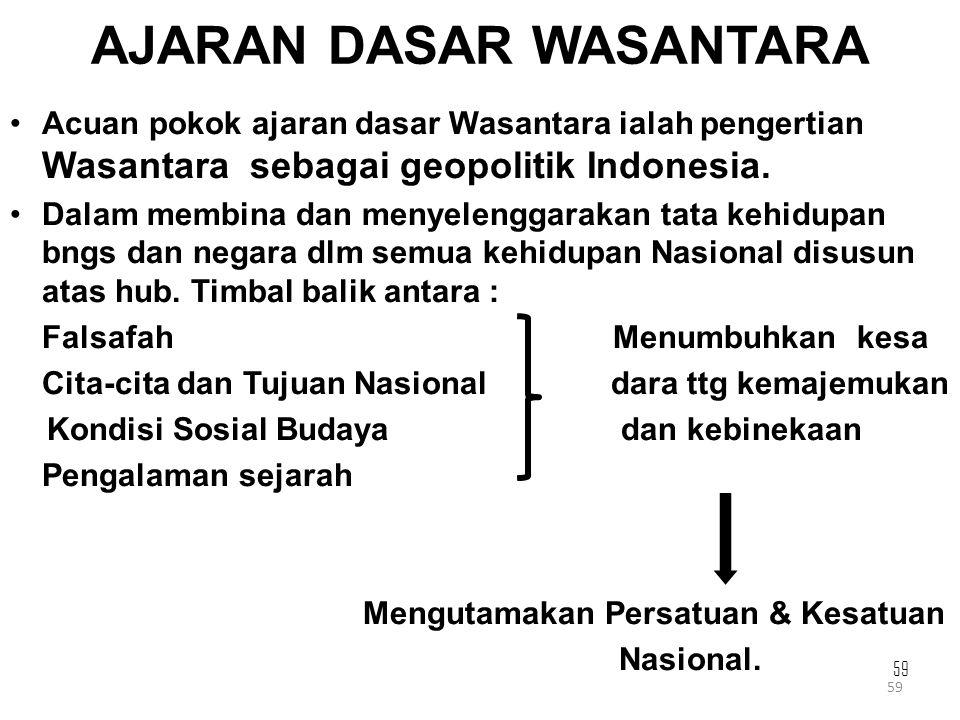 59 AJARAN DASAR WASANTARA Acuan pokok ajaran dasar Wasantara ialah pengertian Wasantara sebagai geopolitik Indonesia. Dalam membina dan menyelenggarak