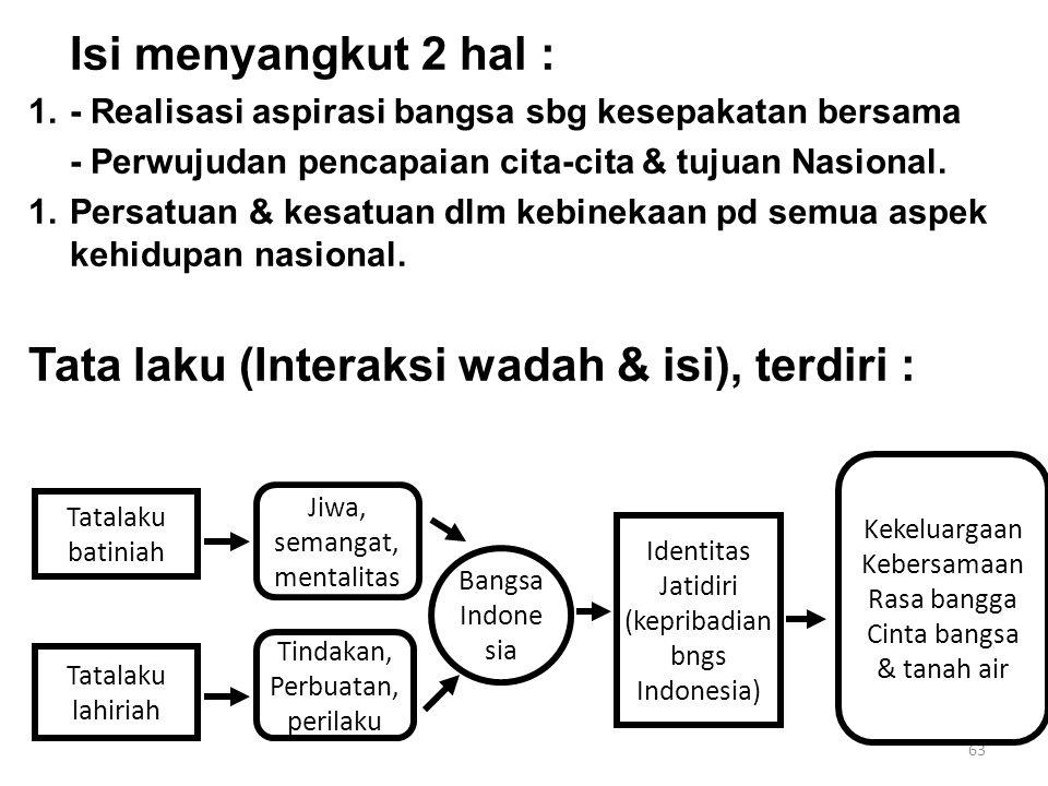 63 Isi menyangkut 2 hal : 1.- Realisasi aspirasi bangsa sbg kesepakatan bersama - Perwujudan pencapaian cita-cita & tujuan Nasional. 1.Persatuan & kes
