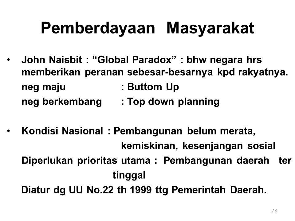 """73 Pemberdayaan Masyarakat John Naisbit : """"Global Paradox"""" : bhw negara hrs memberikan peranan sebesar-besarnya kpd rakyatnya. neg maju : Buttom Up ne"""