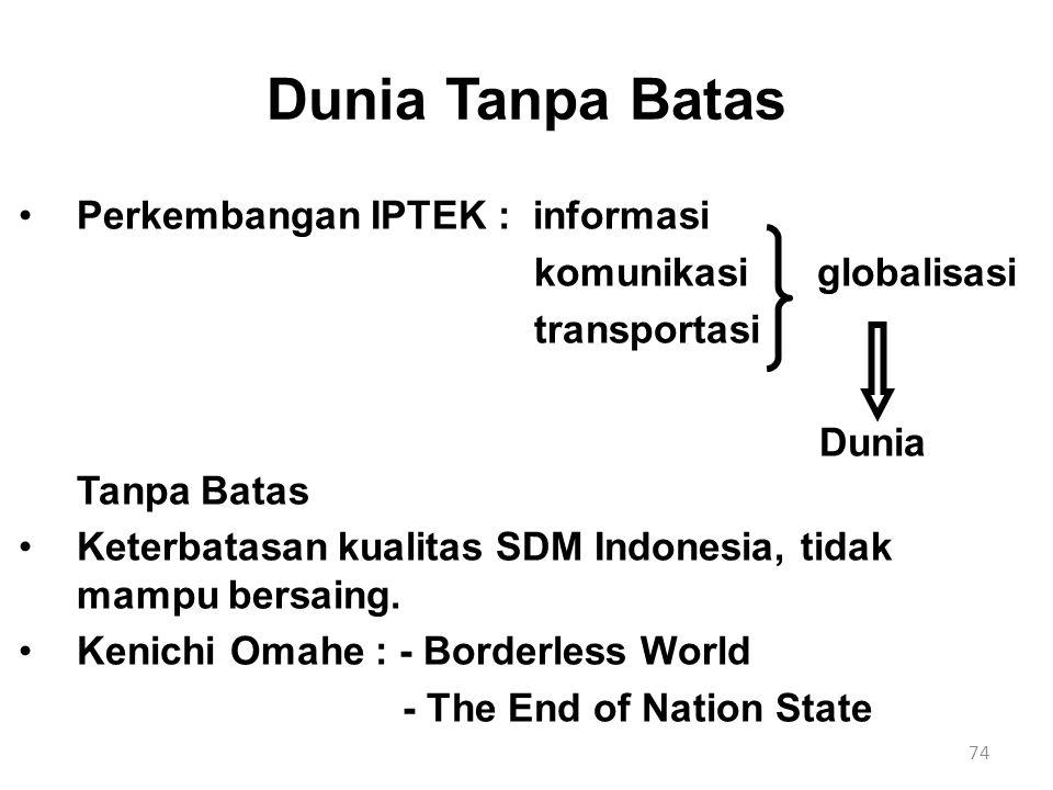 74 Dunia Tanpa Batas Perkembangan IPTEK : informasi komunikasi globalisasi transportasi Dunia Tanpa Batas Keterbatasan kualitas SDM Indonesia, tidak m