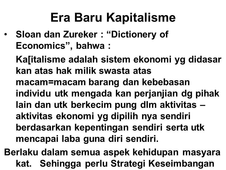 """76 Era Baru Kapitalisme Sloan dan Zureker : """"Dictionery of Economics"""", bahwa : Ka[italisme adalah sistem ekonomi yg didasar kan atas hak milik swasta"""