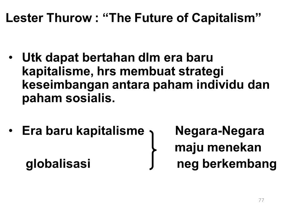 "77 Lester Thurow : ""The Future of Capitalism"" Utk dapat bertahan dlm era baru kapitalisme, hrs membuat strategi keseimbangan antara paham individu dan"