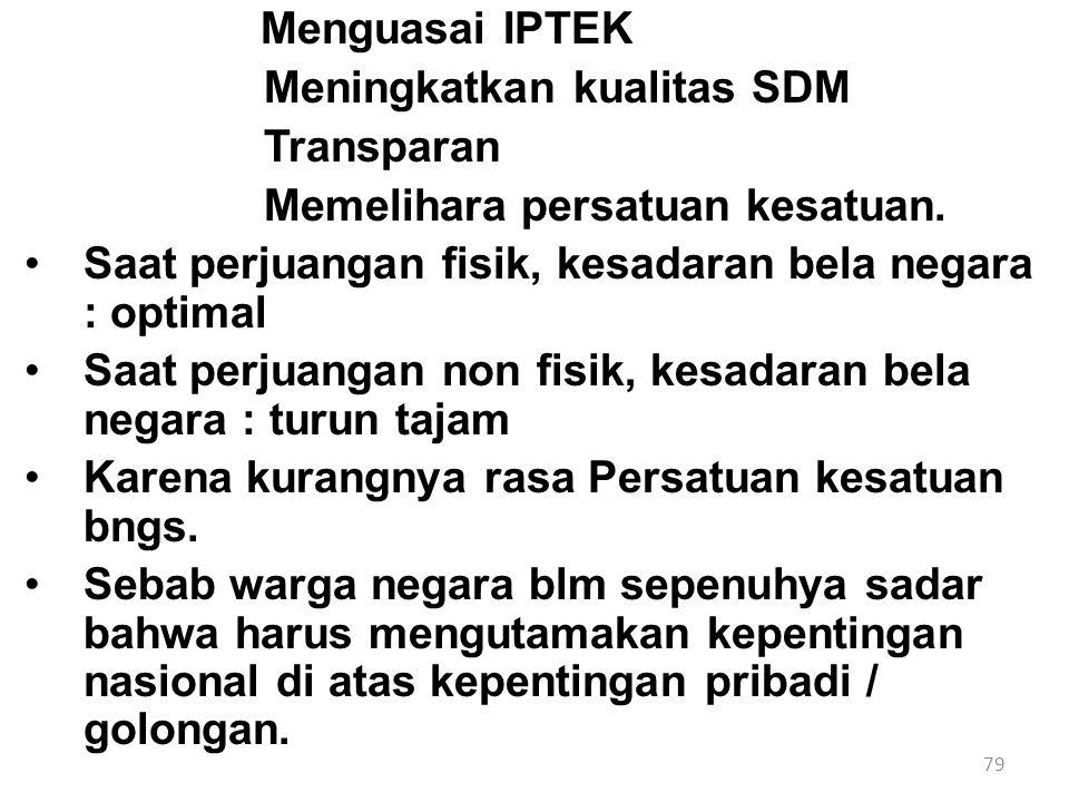 79 Menguasai IPTEK Meningkatkan kualitas SDM Transparan Memelihara persatuan kesatuan. Saat perjuangan fisik, kesadaran bela negara : optimal Saat per