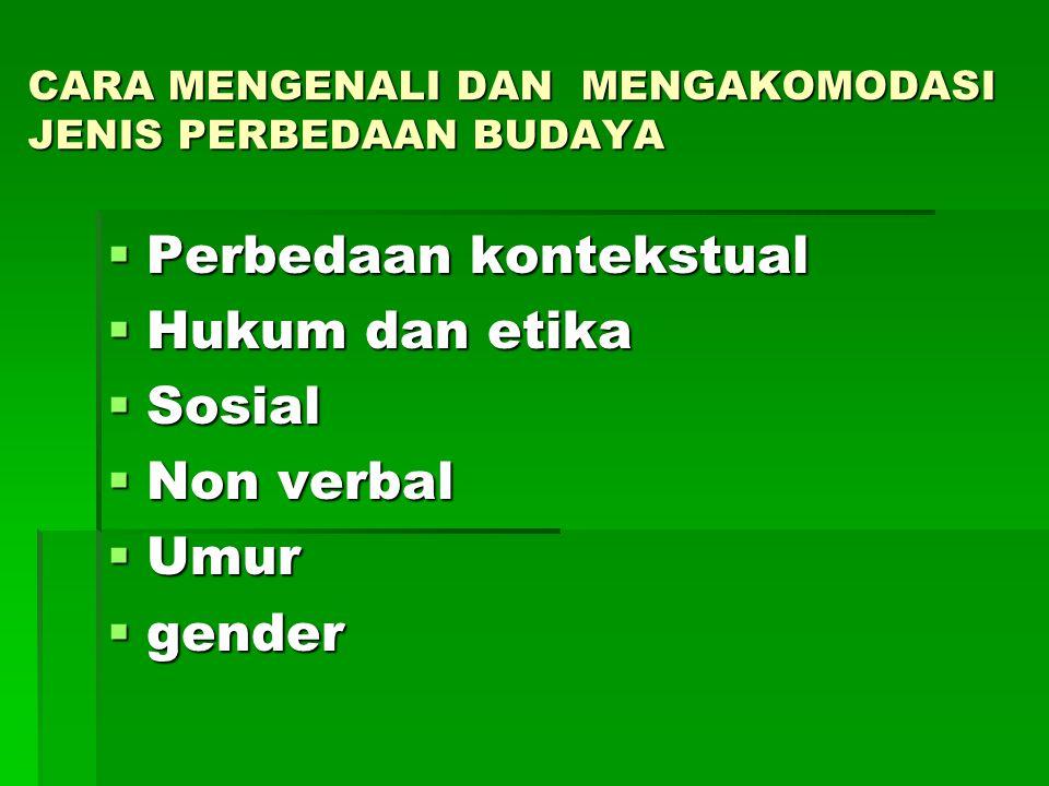 CARA MENGENALI DAN MENGAKOMODASI JENIS PERBEDAAN BUDAYA  Perbedaan kontekstual  Hukum dan etika  Sosial  Non verbal  Umur  gender