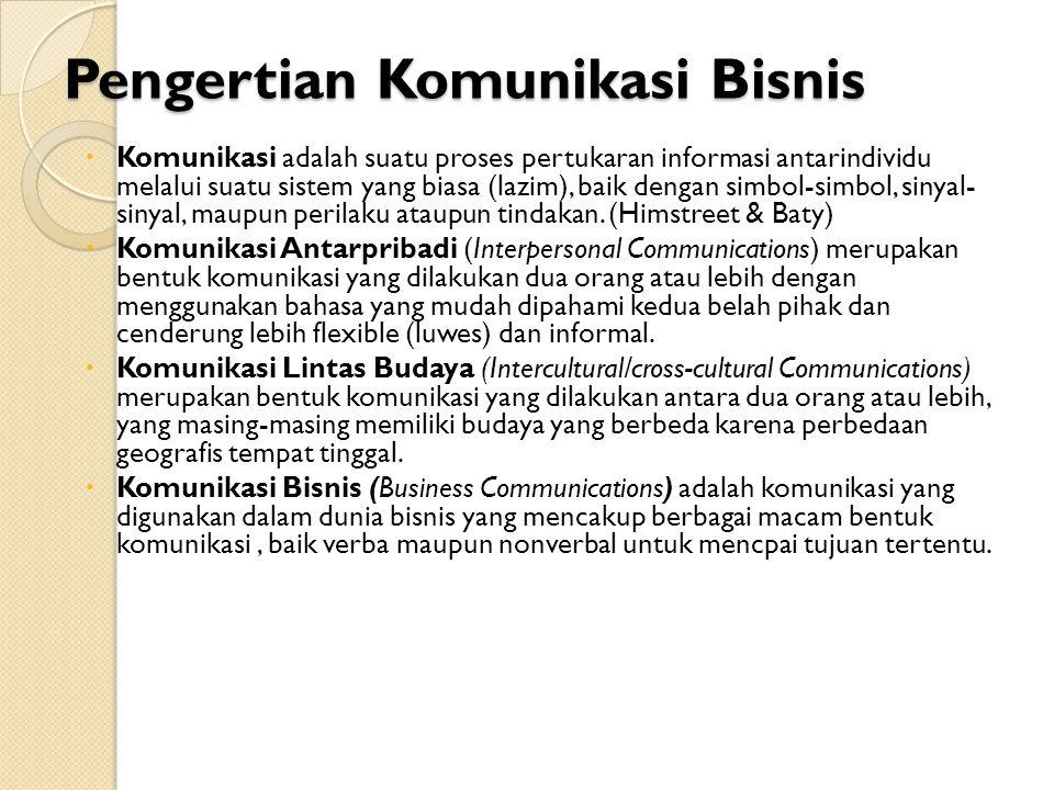 Pengertian Komunikasi Bisnis  Komunikasi adalah suatu proses pertukaran informasi antarindividu melalui suatu sistem yang biasa (lazim), baik dengan simbol-simbol, sinyal- sinyal, maupun perilaku ataupun tindakan.