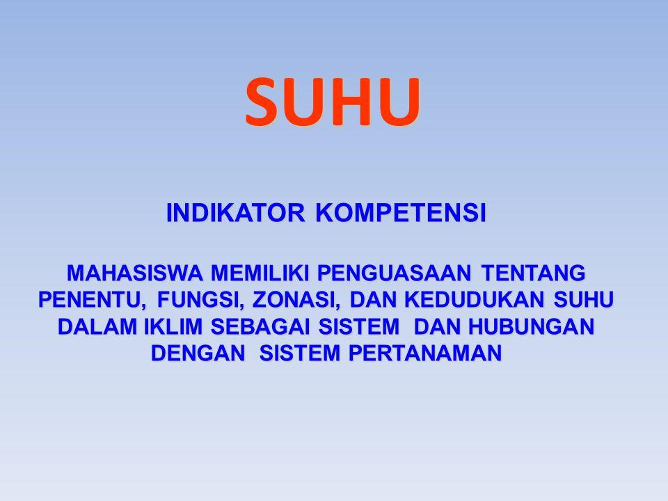 INDIKATOR KOMPETENSI MAHASISWA MEMILIKI PENGUASAAN TENTANG PENENTU, FUNGSI, ZONASI, DAN KEDUDUKAN SUHU DALAM IKLIM SEBAGAI SISTEM DAN HUBUNGAN DENGAN SISTEM PERTANAMAN SUHU