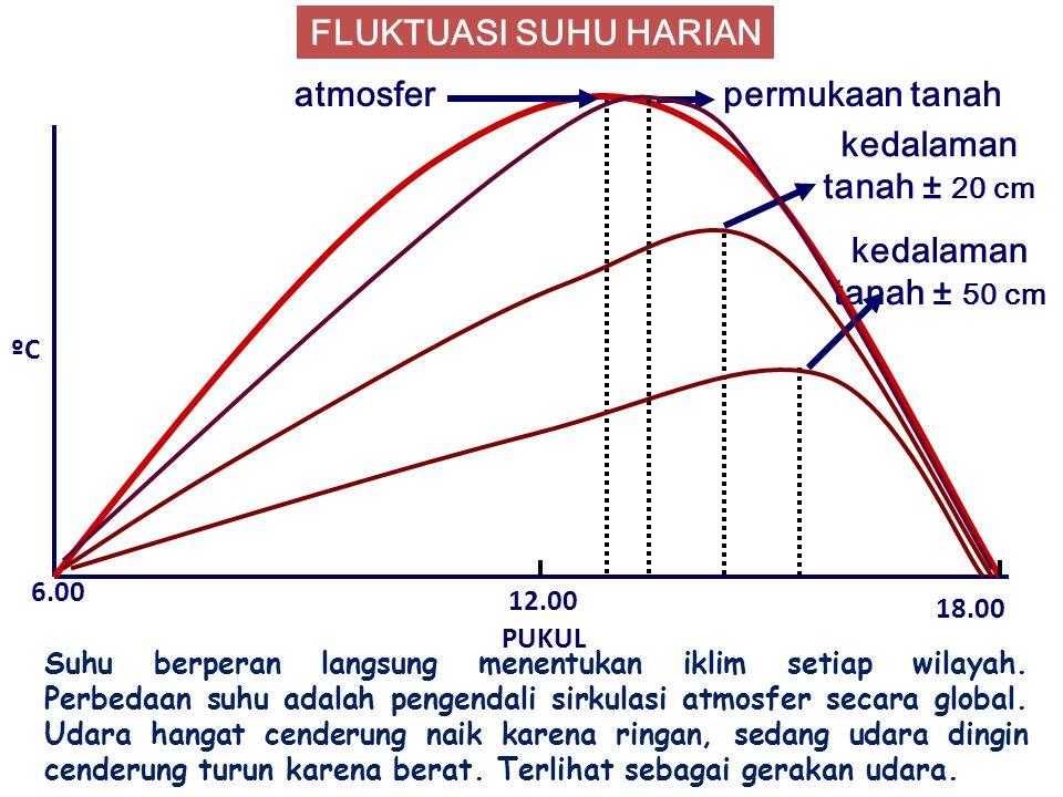 FLUKTUASI SUHU HARIAN kedalaman tanah ± 50 cm ºC PUKUL 6.00 12.00 18.00 atmosferpermukaan tanah kedalaman tanah ± 20 cm Suhu berperan langsung menentukan iklim setiap wilayah.