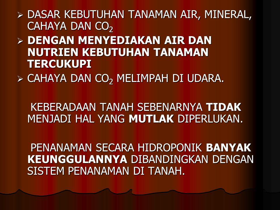  DASAR KEBUTUHAN TANAMAN AIR, MINERAL, CAHAYA DAN CO 2  DENGAN MENYEDIAKAN AIR DAN NUTRIEN KEBUTUHAN TANAMAN TERCUKUPI  CAHAYA DAN CO 2 MELIMPAH DI UDARA.
