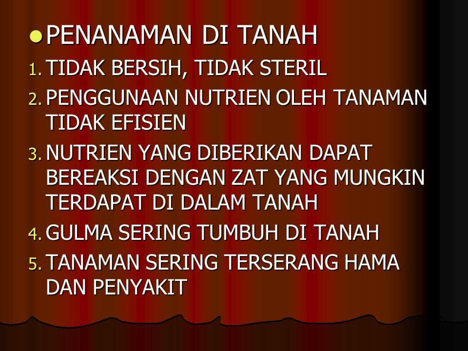 PENANAMAN DI TANAH PENANAMAN DI TANAH 1.TIDAK BERSIH, TIDAK STERIL 2.