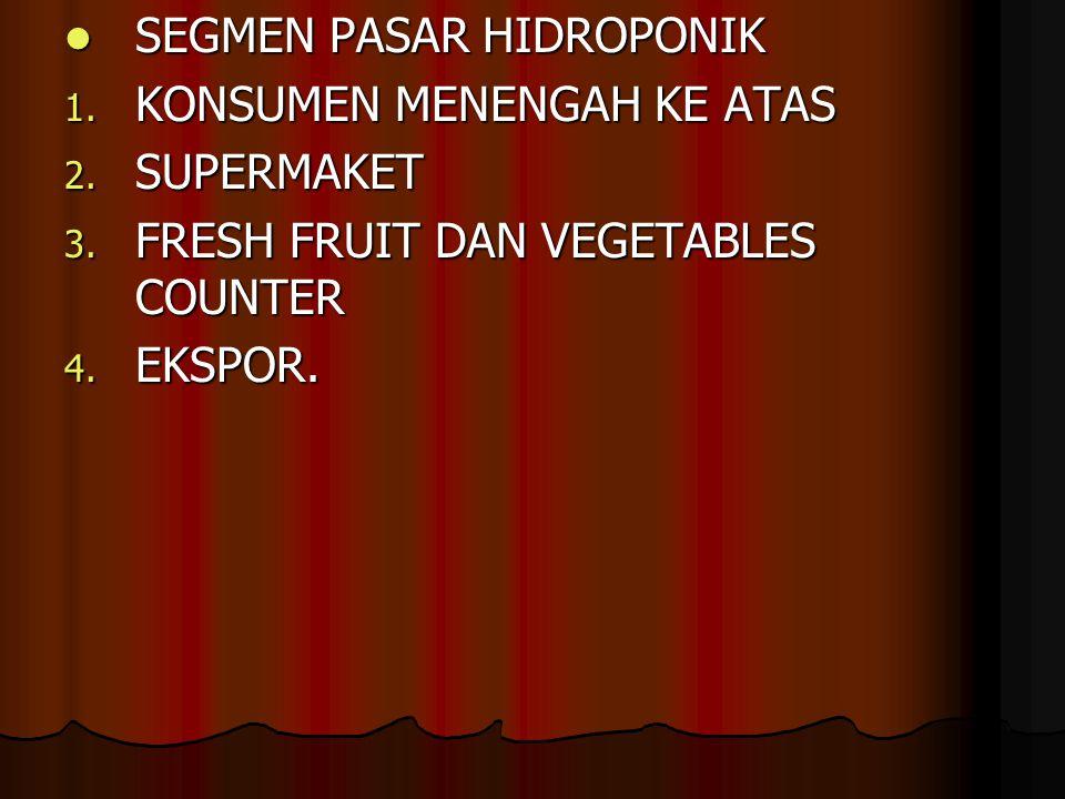 SEGMEN PASAR HIDROPONIK SEGMEN PASAR HIDROPONIK 1.