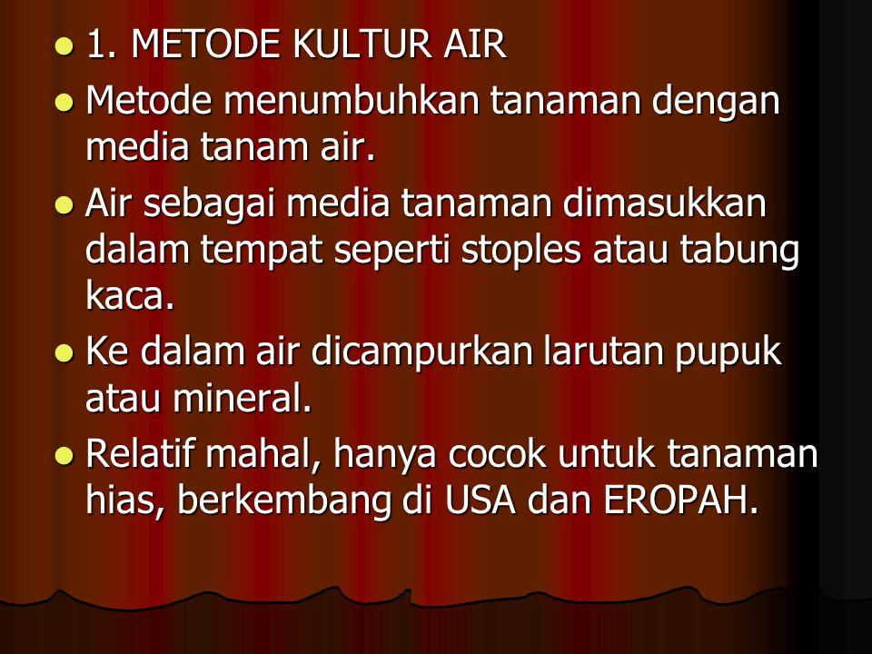 1.METODE KULTUR AIR 1. METODE KULTUR AIR Metode menumbuhkan tanaman dengan media tanam air.