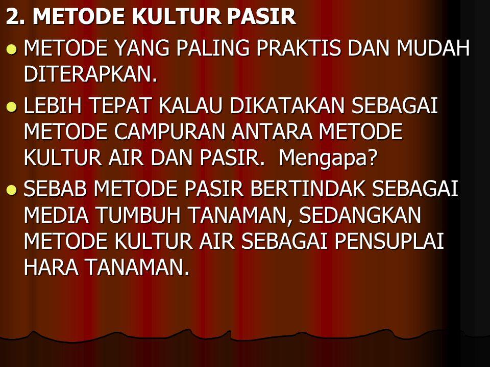 2.METODE KULTUR PASIR METODE YANG PALING PRAKTIS DAN MUDAH DITERAPKAN.