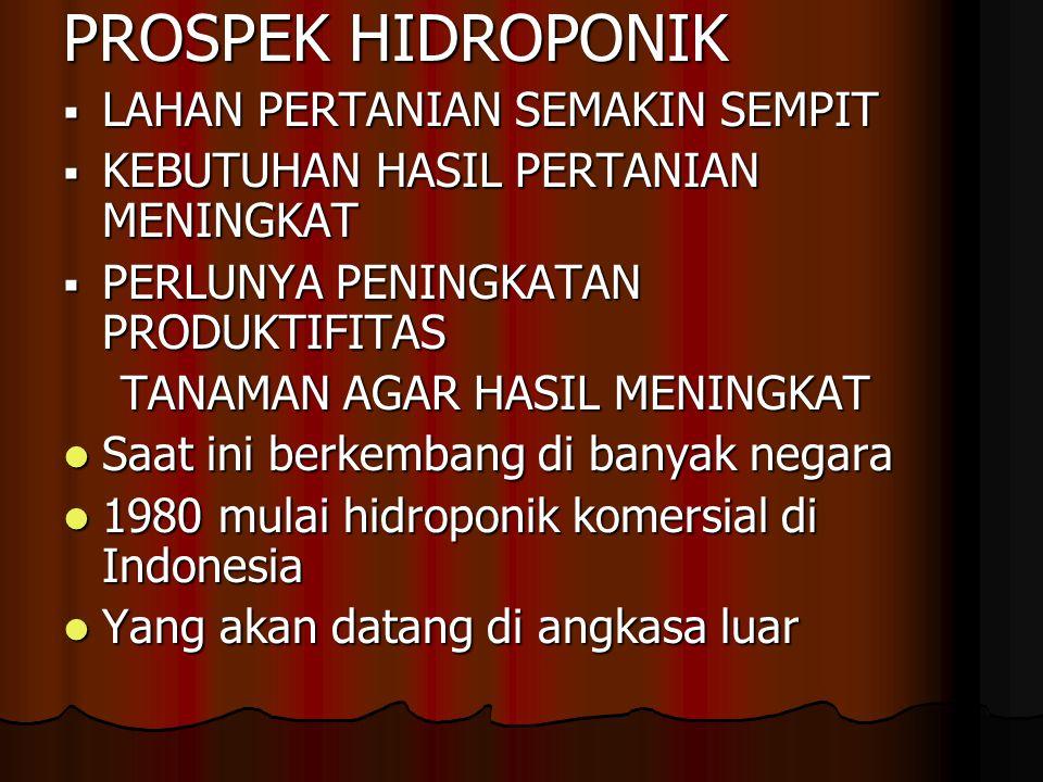PROSPEK HIDROPONIK  LAHAN PERTANIAN SEMAKIN SEMPIT  KEBUTUHAN HASIL PERTANIAN MENINGKAT  PERLUNYA PENINGKATAN PRODUKTIFITAS TANAMAN AGAR HASIL MENINGKAT TANAMAN AGAR HASIL MENINGKAT Saat ini berkembang di banyak negara Saat ini berkembang di banyak negara 1980 mulai hidroponik komersial di Indonesia 1980 mulai hidroponik komersial di Indonesia Yang akan datang di angkasa luar Yang akan datang di angkasa luar