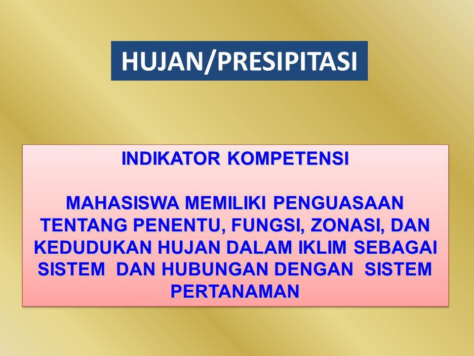 HUJAN/PRESIPITASI INDIKATOR KOMPETENSI MAHASISWA MEMILIKI PENGUASAAN TENTANG PENENTU, FUNGSI, ZONASI, DAN KEDUDUKAN HUJAN DALAM IKLIM SEBAGAI SISTEM D