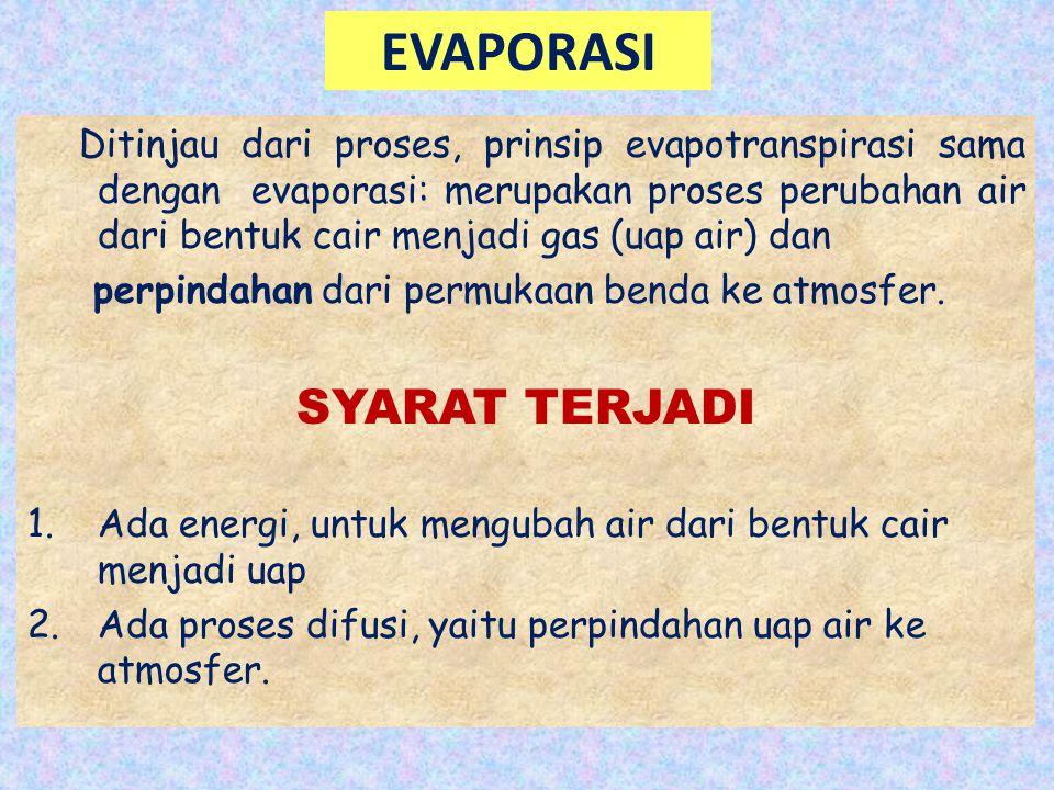 EVAPORASI Ditinjau dari proses, prinsip evapotranspirasi sama dengan evaporasi: merupakan proses perubahan air dari bentuk cair menjadi gas (uap air)
