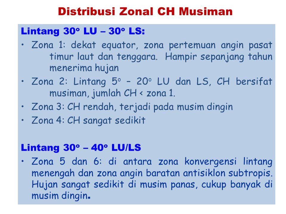 Distribusi Zonal CH Musiman Lintang 30 o LU – 30 o LS: Zona 1: dekat equator, zona pertemuan angin pasat timur laut dan tenggara. Hampir sepanjang tah