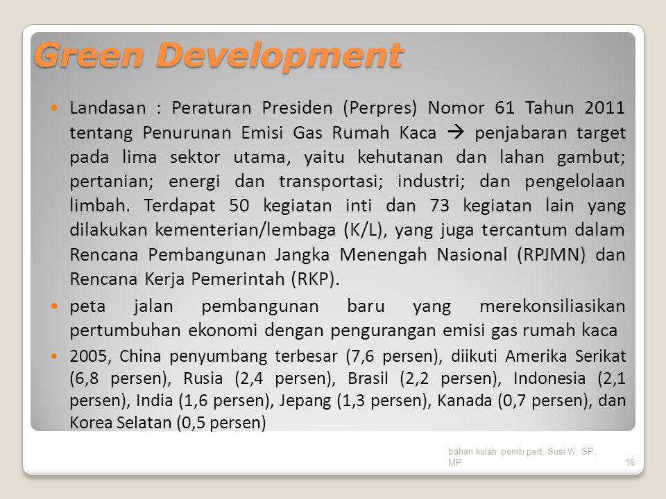 Green Development Landasan : Peraturan Presiden (Perpres) Nomor 61 Tahun 2011 tentang Penurunan Emisi Gas Rumah Kaca  penjabaran target pada lima sek