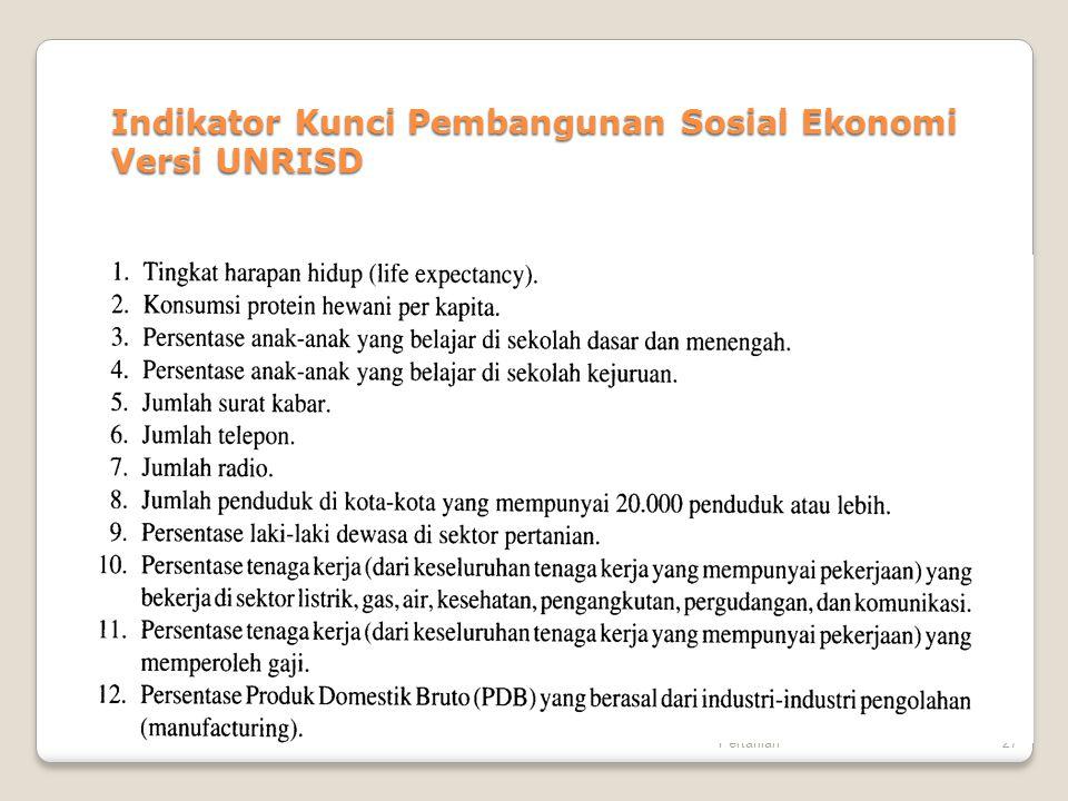 Bahan Kuliah Pembangunan Pertanian27 Indikator Kunci Pembangunan Sosial Ekonomi Versi UNRISD