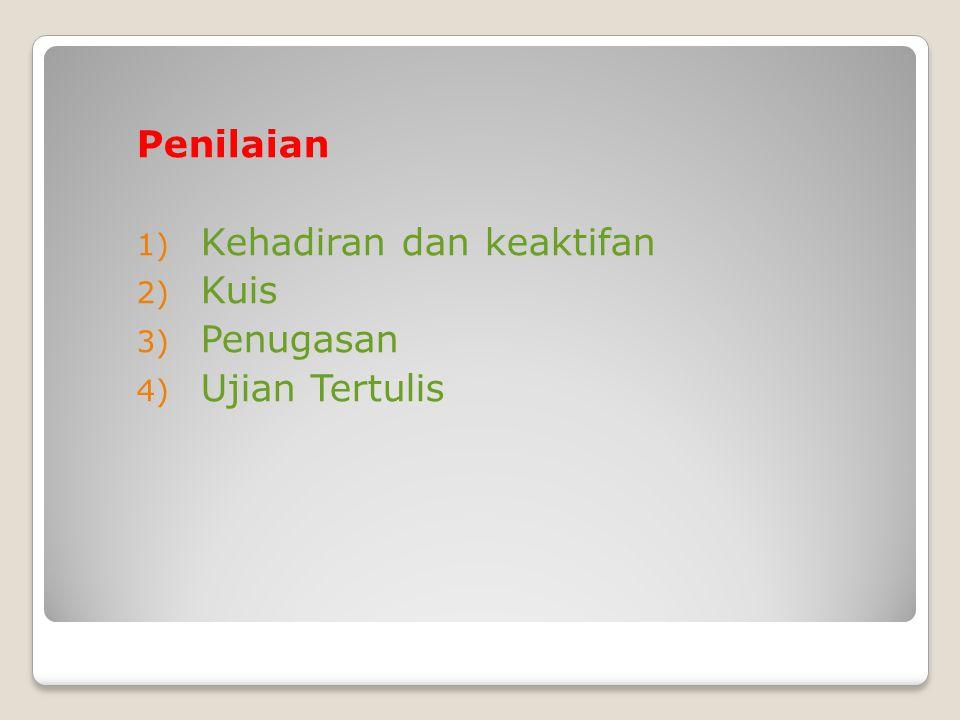 Penilaian 1) Kehadiran dan keaktifan 2) Kuis 3) Penugasan 4) Ujian Tertulis