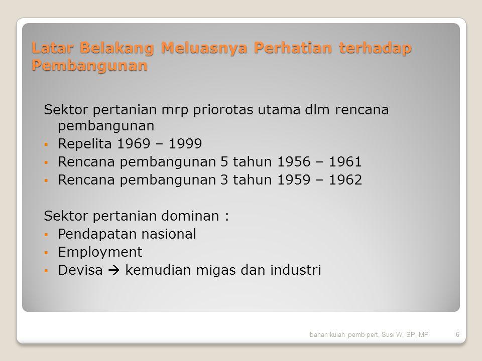 Pendapatan nasional Indonesia 2005-2009 Lapangan usaha20052006200720082009 Pertanian, peternakan, kehutanan, dan perikanan 13,39%13%13,7%14,5%15,3% bahan kuiah pemb pert, Susi W, SP, MP7