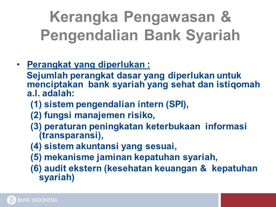 Kerangka Pengawasan & Pengendalian Bank Syariah Perangkat yang diperlukan : Sejumlah perangkat dasar yang diperlukan untuk menciptakan bank syariah ya