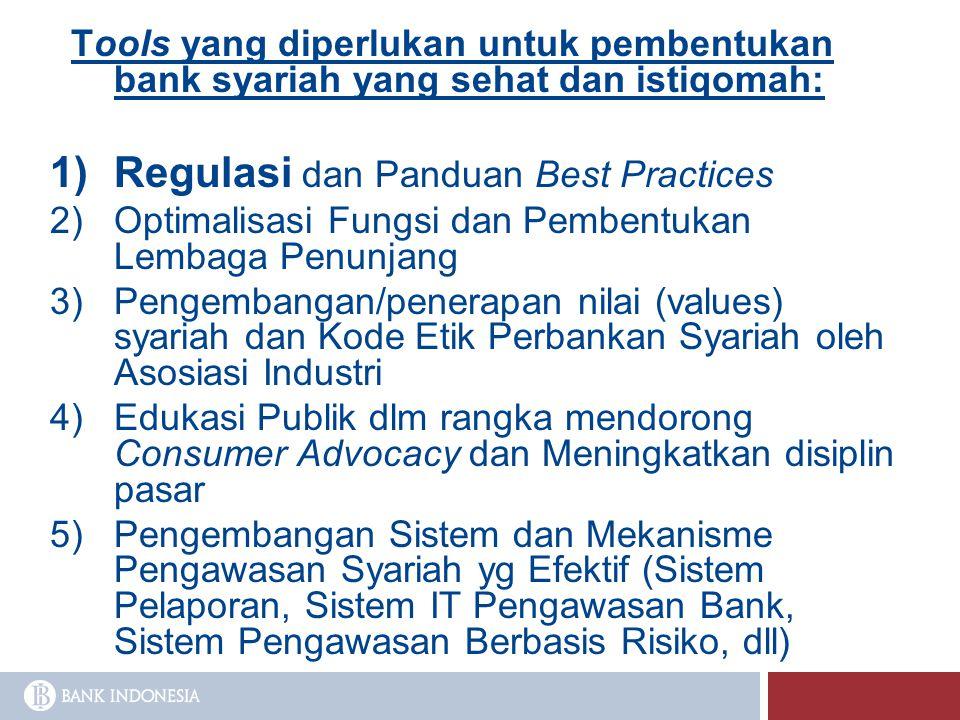 Tools yang diperlukan untuk pembentukan bank syariah yang sehat dan istiqomah:  Regulasi dan Panduan Best Practices  Optimalisasi Fungsi dan Pembe