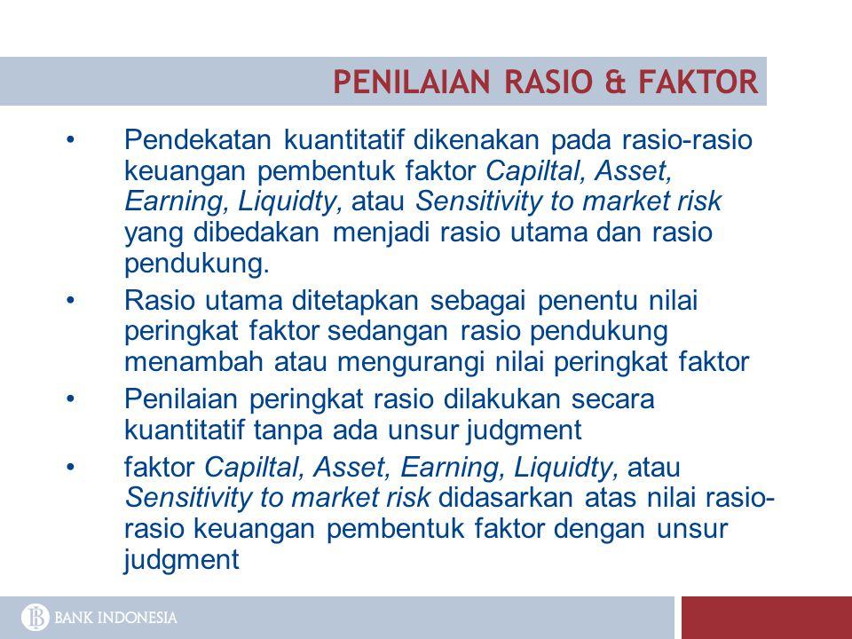 Pendekatan kuantitatif dikenakan pada rasio-rasio keuangan pembentuk faktor Capiltal, Asset, Earning, Liquidty, atau Sensitivity to market risk yang d