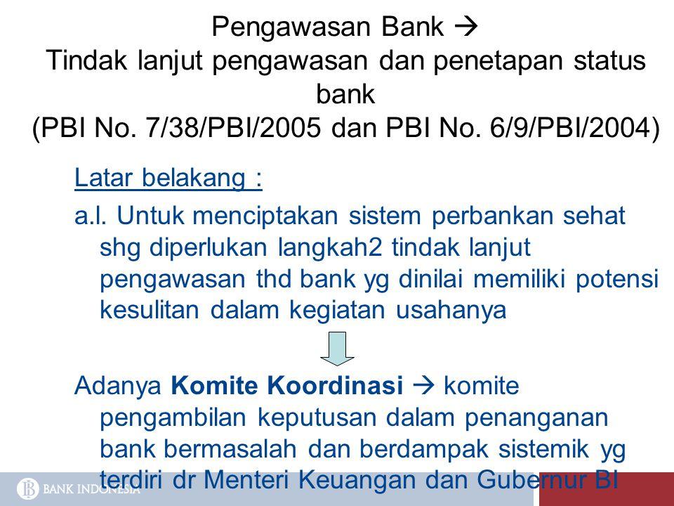 Pengawasan Bank  Tindak lanjut pengawasan dan penetapan status bank (PBI No. 7/38/PBI/2005 dan PBI No. 6/9/PBI/2004) Latar belakang : a.l. Untuk menc