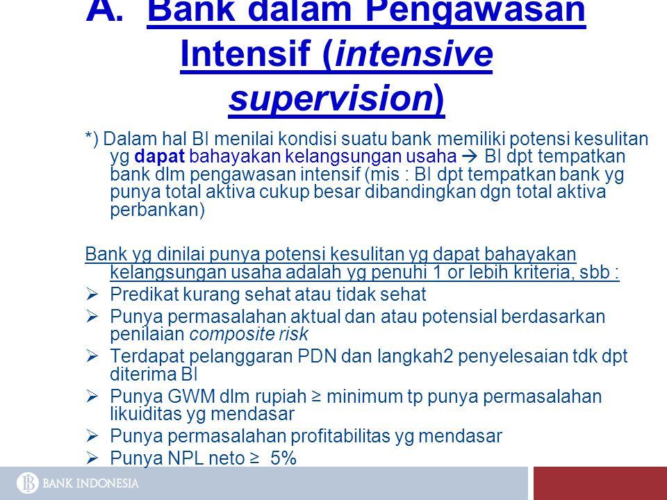 A. Bank dalam Pengawasan Intensif (intensive supervision) *) Dalam hal BI menilai kondisi suatu bank memiliki potensi kesulitan yg dapat bahayakan kel
