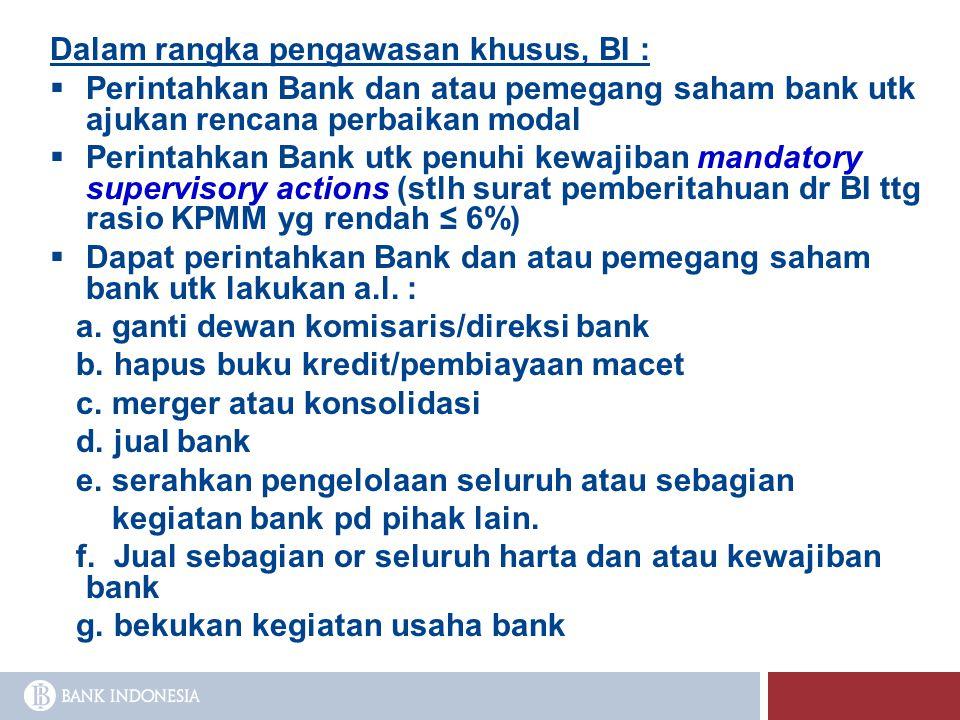 Dalam rangka pengawasan khusus, BI :  Perintahkan Bank dan atau pemegang saham bank utk ajukan rencana perbaikan modal  Perintahkan Bank utk penuhi