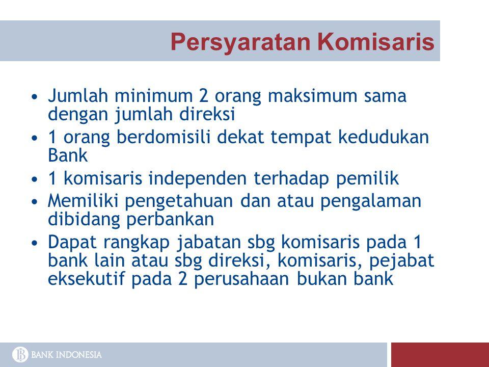 Persyaratan Komisaris Jumlah minimum 2 orang maksimum sama dengan jumlah direksi 1 orang berdomisili dekat tempat kedudukan Bank 1 komisaris independe