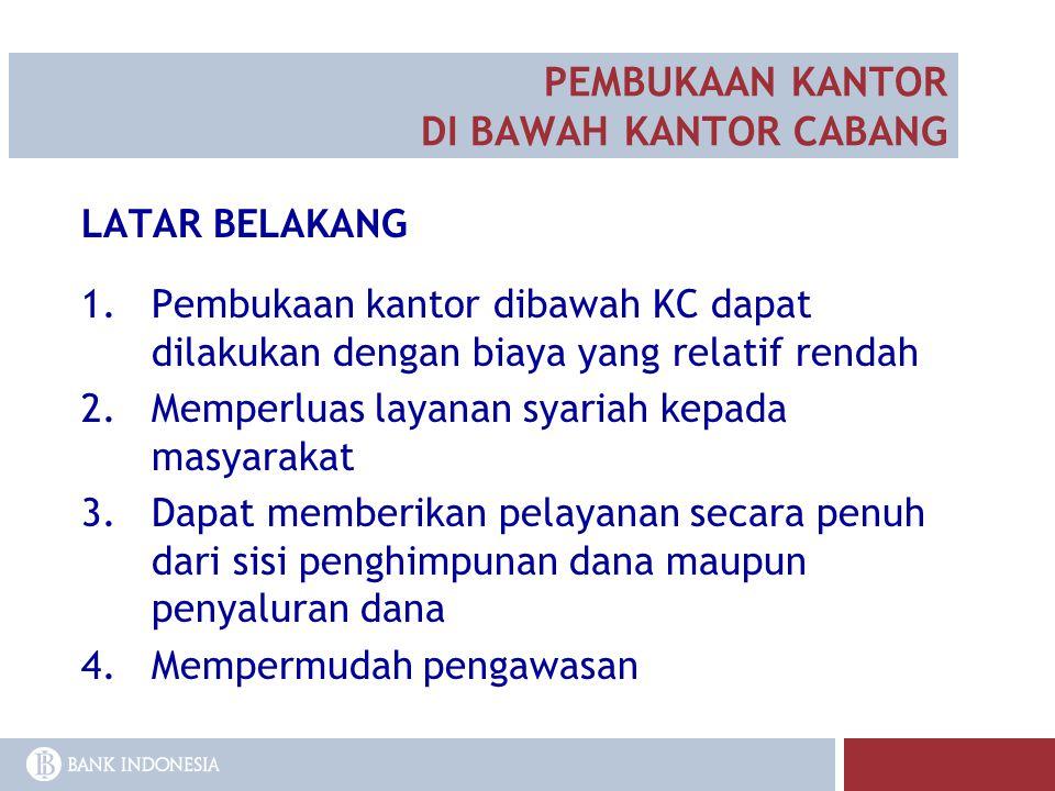 LATAR BELAKANG 1.Pembukaan kantor dibawah KC dapat dilakukan dengan biaya yang relatif rendah 2.Memperluas layanan syariah kepada masyarakat 3.Dapat m