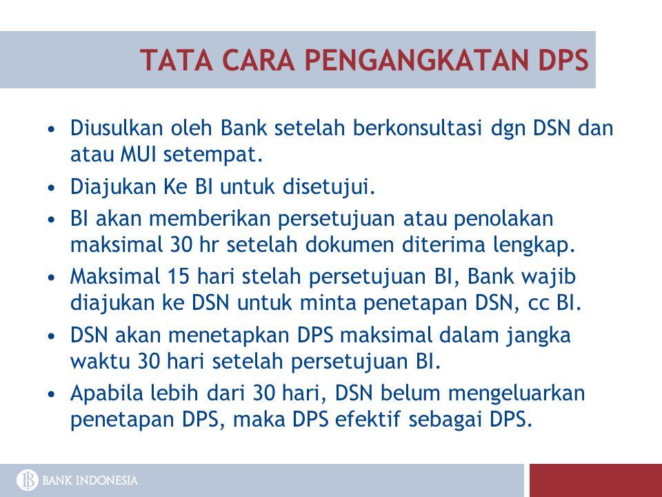 TATA CARA PENGANGKATAN DPS Diusulkan oleh Bank setelah berkonsultasi dgn DSN dan atau MUI setempat. Diajukan Ke BI untuk disetujui. BI akan memberikan