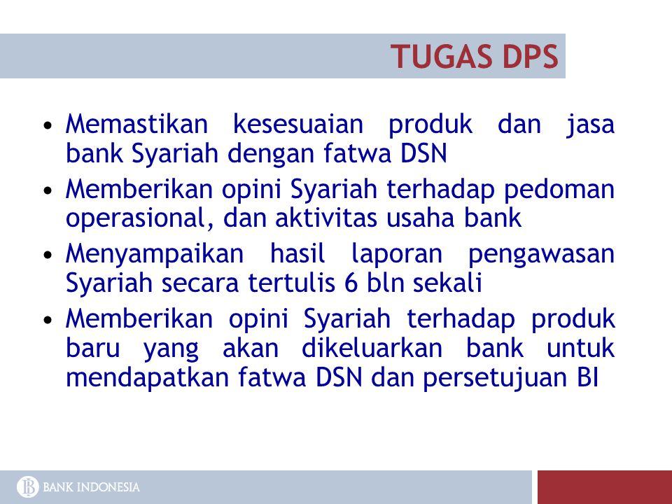TUGAS DPS Memastikan kesesuaian produk dan jasa bank Syariah dengan fatwa DSN Memberikan opini Syariah terhadap pedoman operasional, dan aktivitas usa