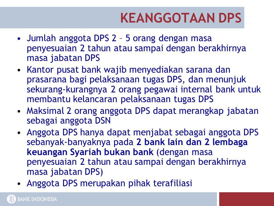 KEANGGOTAAN DPS Jumlah anggota DPS 2 – 5 orang dengan masa penyesuaian 2 tahun atau sampai dengan berakhirnya masa jabatan DPS Kantor pusat bank wajib