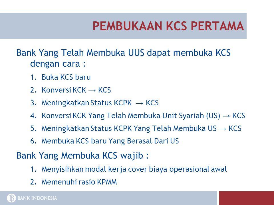 PEMBUKAAN KCS PERTAMA Bank Yang Telah Membuka UUS dapat membuka KCS dengan cara : 1.Buka KCS baru 2.Konversi KCK → KCS 3.Meningkatkan Status KCPK → KC