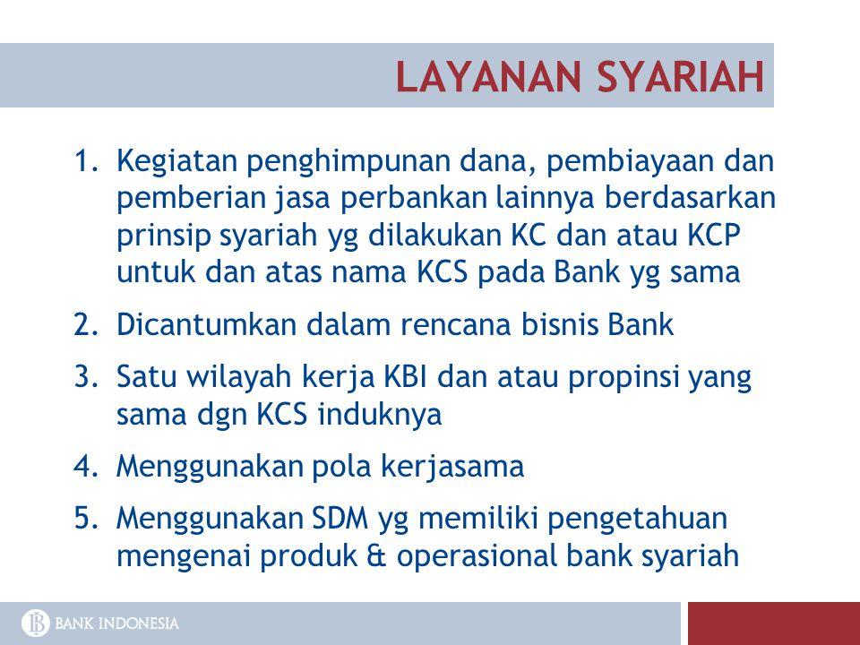 LAYANAN SYARIAH 1.Kegiatan penghimpunan dana, pembiayaan dan pemberian jasa perbankan lainnya berdasarkan prinsip syariah yg dilakukan KC dan atau KCP