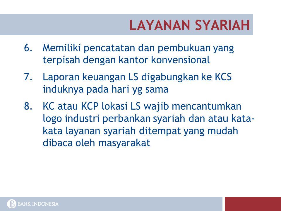 LAYANAN SYARIAH 6.Memiliki pencatatan dan pembukuan yang terpisah dengan kantor konvensional 7.Laporan keuangan LS digabungkan ke KCS induknya pada ha