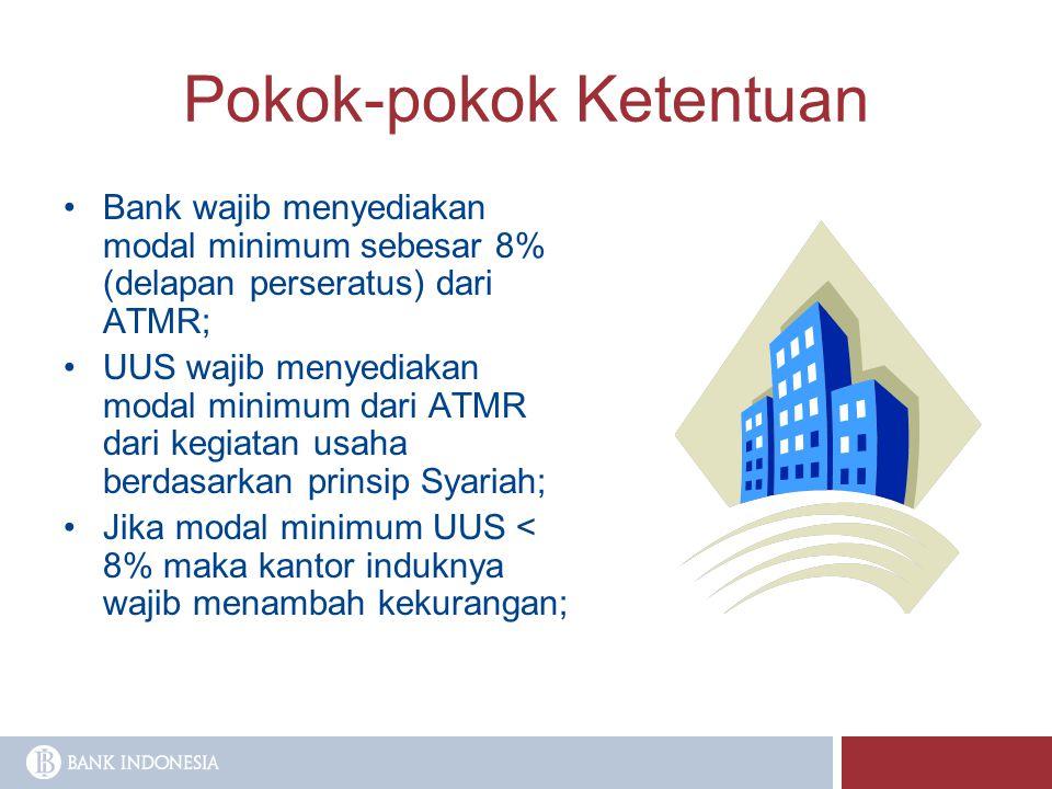 Pokok-pokok Ketentuan Bank wajib menyediakan modal minimum sebesar 8% (delapan perseratus) dari ATMR; UUS wajib menyediakan modal minimum dari ATMR da