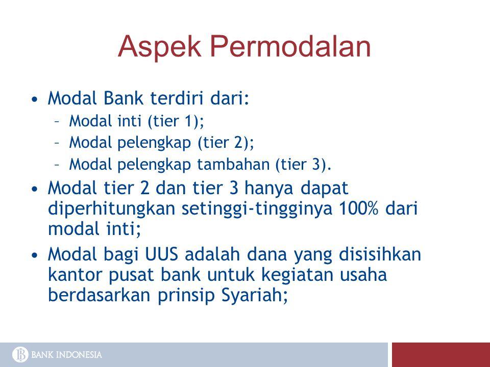 Aspek Permodalan Modal Bank terdiri dari: –Modal inti (tier 1); –Modal pelengkap (tier 2); –Modal pelengkap tambahan (tier 3). Modal tier 2 dan tier 3
