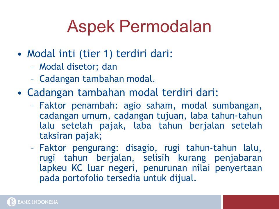 Aspek Permodalan Modal inti (tier 1) terdiri dari: –Modal disetor; dan –Cadangan tambahan modal. Cadangan tambahan modal terdiri dari: –Faktor penamba