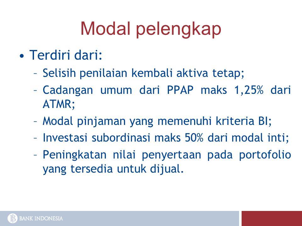 Modal pelengkap Terdiri dari: –Selisih penilaian kembali aktiva tetap; –Cadangan umum dari PPAP maks 1,25% dari ATMR; –Modal pinjaman yang memenuhi kr
