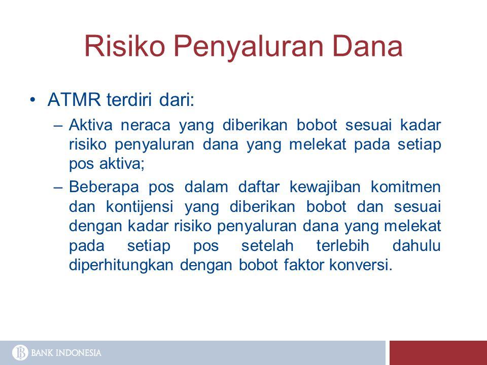 Risiko Penyaluran Dana ATMR terdiri dari: –Aktiva neraca yang diberikan bobot sesuai kadar risiko penyaluran dana yang melekat pada setiap pos aktiva;